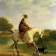 Emma Powles sur son hunter gris accompagnée par son épagnol dans un paysage de rivière.