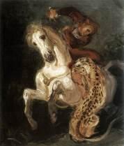 Jaguar attaquant un cavalier.