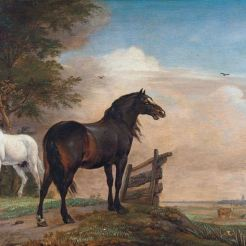 Deux chevaux dans un pré près d'une porte.
