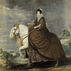 La reina Isabel de Borbón a caballo.