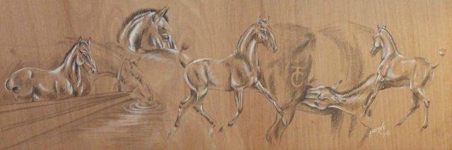 Les petits poulains Teixeira Da Costa, mine graphite, acrylique sur support bois.