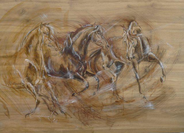 Trio liberté, acrylique sur support bois stratifié.
